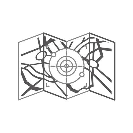 A map paper with target vector illustration design. Illustration