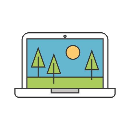 風景のアイコン ベクトル イラスト デザインのノート パソコン。