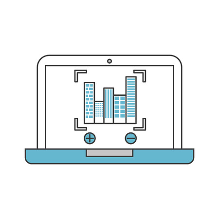A laptop with buildings cityscape scene vector illustration design.