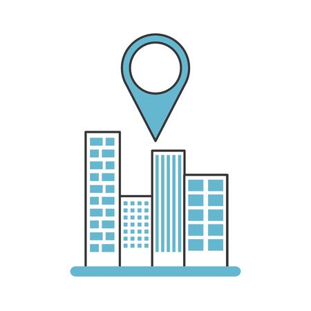 A buildings cityscape scene with pin location vector illustration design.