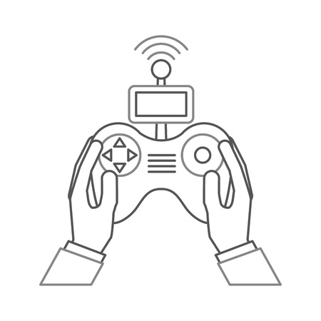 A hands human with Drone remote control icon vector illustration design. Çizim