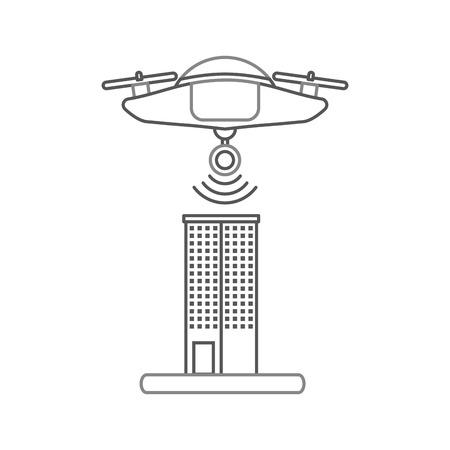 カメラ ベクトル イラスト デザインと技術の飛行ドローン。