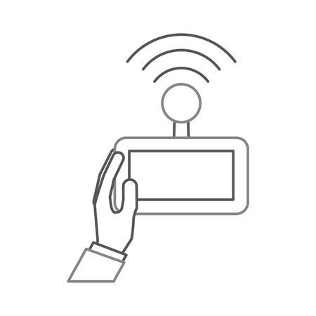 A hands human with Drone remote control icon vector illustration design. Ilustração