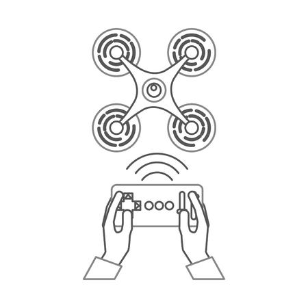 무인 항공기 원격 제어 아이콘 벡터 일러스트 디자인