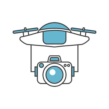 drone flying technology with camera vector illustration design  イラスト・ベクター素材