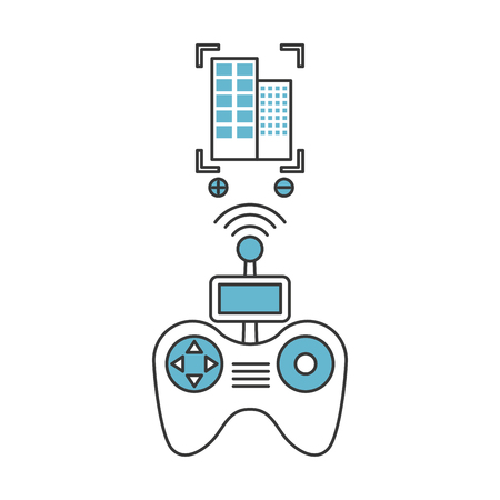 Drone remote control with builbing vector illustration design