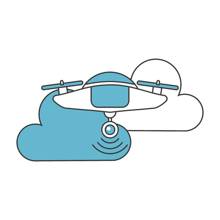 drone flying technology with clouds vector illustration design
