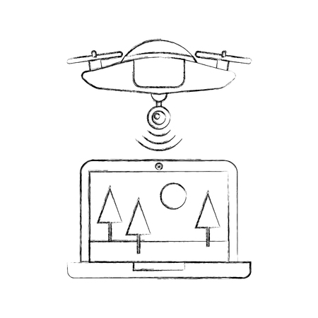 drone flying technology with laptop vector illustration design