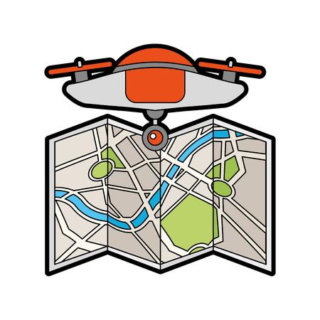 Drohne fliegen Technologie mit Papier Karte Vektor-Illustration Design Standard-Bild - 81809300