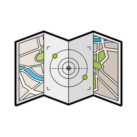 map paper with target vector illustration design