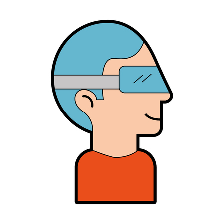 Man with virtual reality glasses vector illustration design