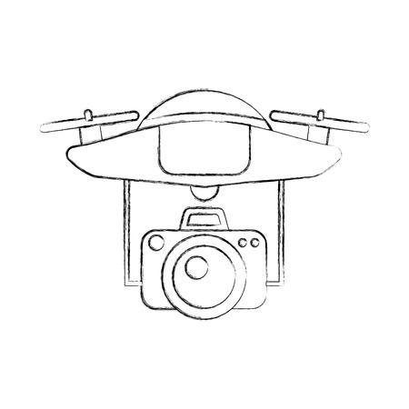 Drone vliegende technologie met camera vector illustratie ontwerp