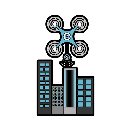 drone flying technology with cityscape vector illustration design Çizim