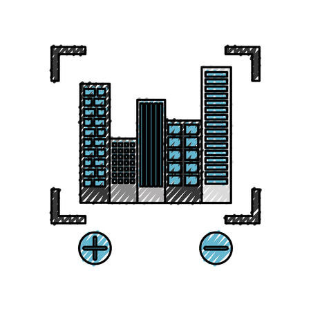 buildings cityscape scene with target vector illustration design