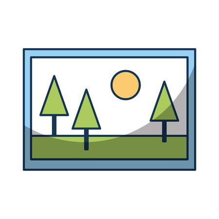 Wonderful picture landscape icon vector illustration design graphic