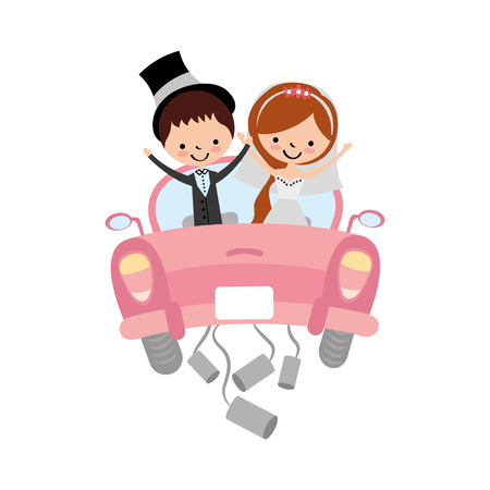 Married couple in car avatar characters vector illustration design