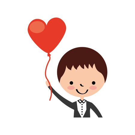 cute husband with heart shaped pumps avatar character vector illustration design Illustration