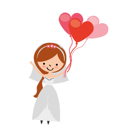 balloon bouquet: cute wife with shaped heart pumps avatar character vector illustration design