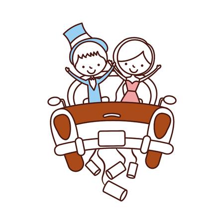 자동차 아바타 문자 벡터 일러스트 디자인에서 결혼 한 커플 스톡 콘텐츠 - 81814383