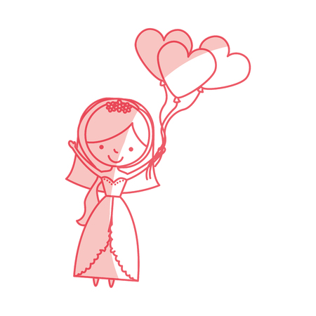 engagement party: cute wife with shaped heart pumps avatar character vector illustration design