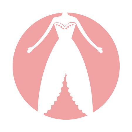 여성 웨딩 드레스 아이콘 벡터 일러스트 디자인