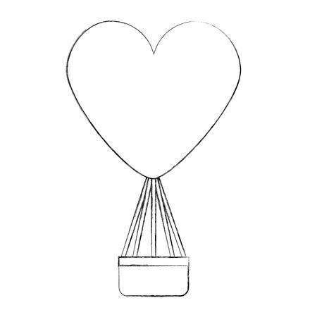 Balloon air hot with heart shape vector illustration design