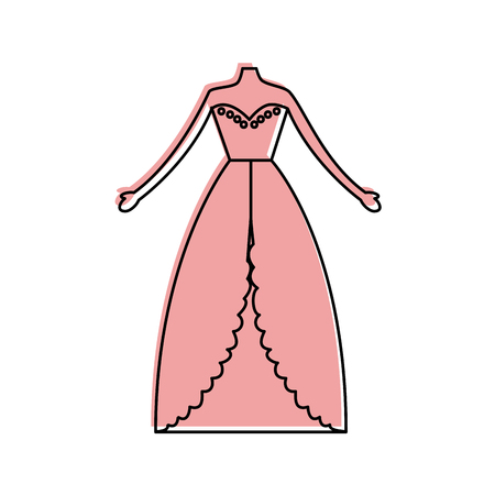 Female wedding dress icon vector illustration design Illustration