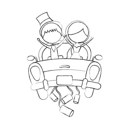 Verheiratetes Paar im Autoavataracharakter-Vektorillustrationsdesign Standard-Bild - 81814649