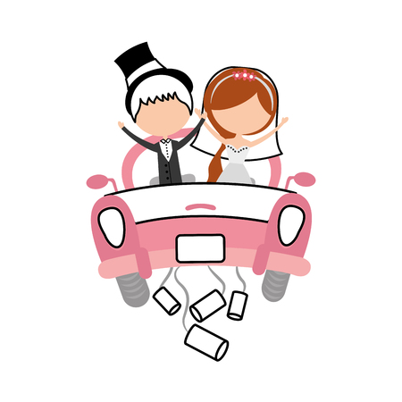 Getrouwd stel in auto avatar karakters vector illustratie ontwerp