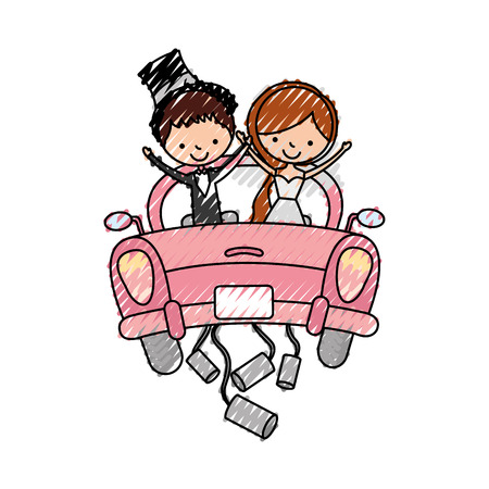 Married couple in car avatar characters vector illustration design Çizim