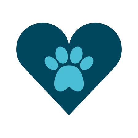 Coeur avec empreinte de patte mascotte icône isolée design d'illustration vectorielle Banque d'images - 81844241