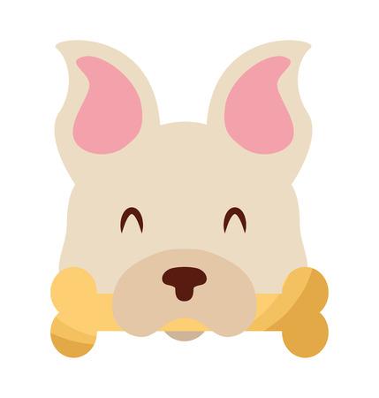 cute dog mascot with bone vector illustration design