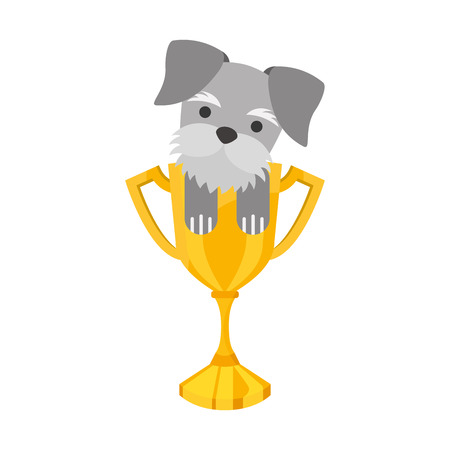 purebred: cute dog mascot with trophy vector illustration design