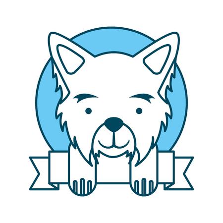 cute dog mascot with ribbon vector illustration design Illustration