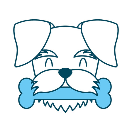 cute dog mascot with bone vector illustration design