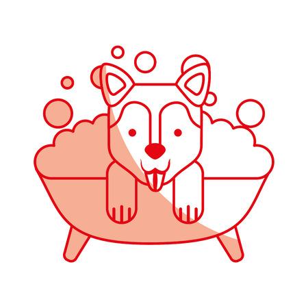 Schattige hond baden in het bad vector illustratie ontwerp Stock Illustratie