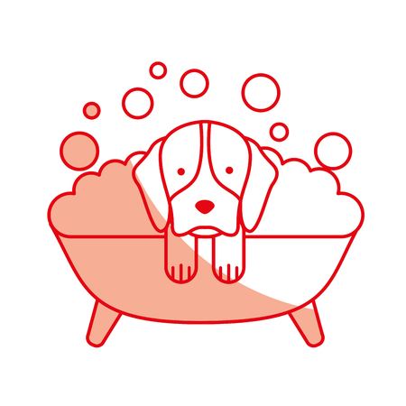 cute Dog bathing in the tub vector illustration design