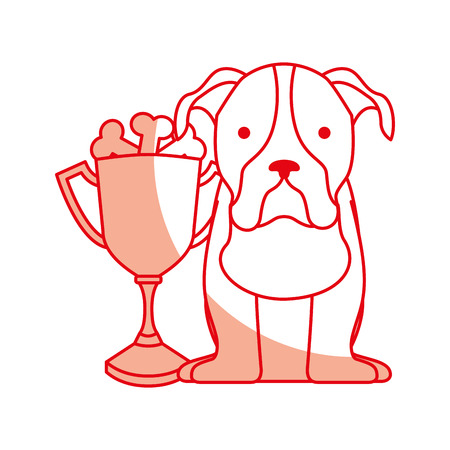 cute dog mascot with trophy vector illustration design