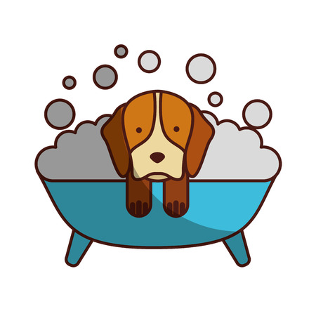 cute Dog bathing in the tub vector illustration design