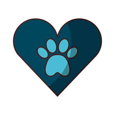 Coeur avec empreinte de patte mascotte icône isolée design d'illustration vectorielle Banque d'images - 81845322