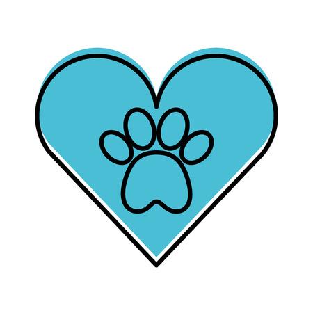 Coeur avec empreinte de patte mascotte icône isolée design d'illustration vectorielle Banque d'images - 81845828