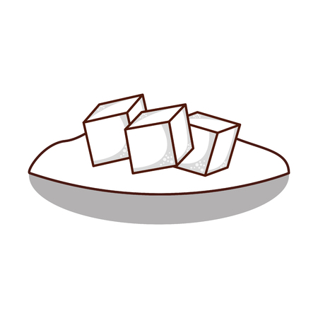 dish with sugar cubes vector illustration design 向量圖像