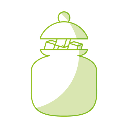 sugar pot with cubes vector illustration design