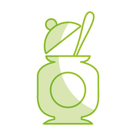 sugar pot with spoon vector illustration design Çizim