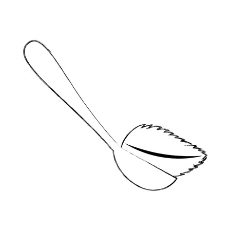 spoon with tea leaf product icon vector illustration design Çizim