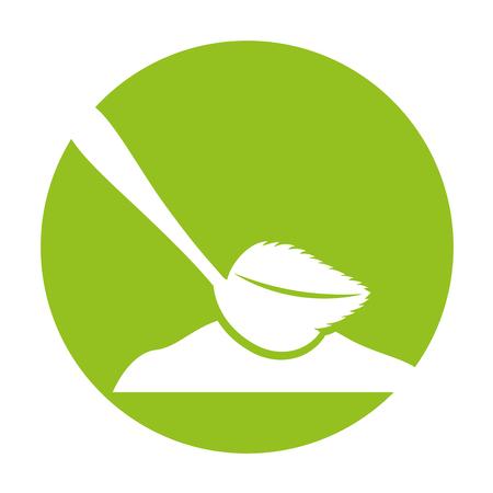 spoon with tea leaf product icon vector illustration design Illustration