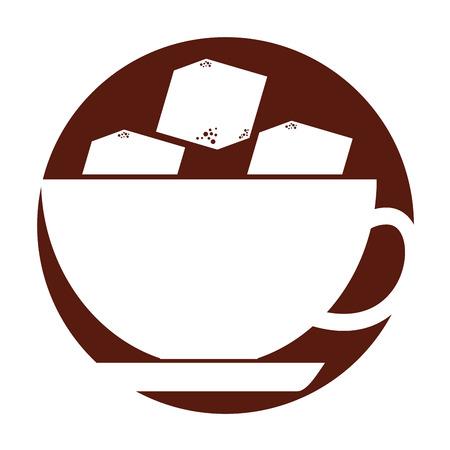 설탕 큐브 벡터 일러스트 레이 션 디자인과 함께 커피 컵