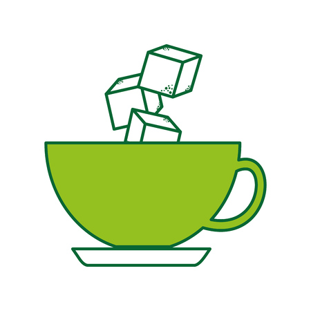 coffee cup with sugar cubes vector illustration design