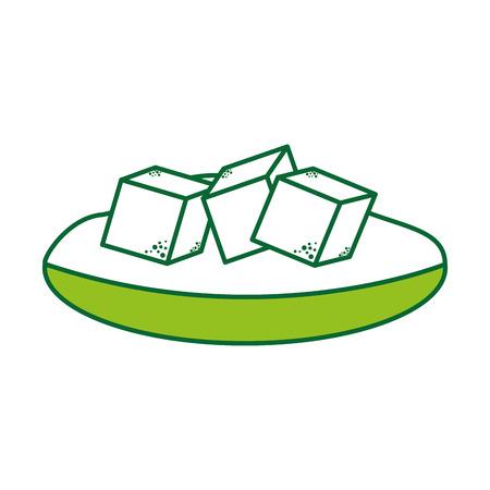 砂糖キューブ ベクトル イラスト デザイン皿します。