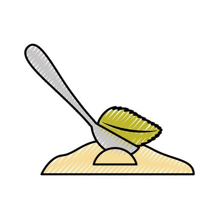 spoon with tea leaf product icon vector illustration design Çizim